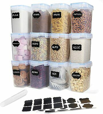 £12.95 • Buy 6 Or 12 Cereal Containers Airtight Food Storage Dry Containers Dispenser Kitchen
