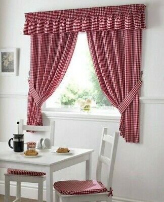 £6 • Buy Bnip Red Gingham / Check Kitchen Curtains 46 X 54