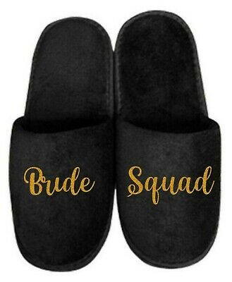 £1.79 • Buy Black Personalised Spa Slippers Closed Toe Open Toe Weddings Parties Any Name