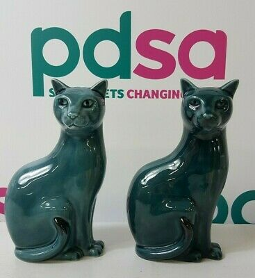 £20 • Buy Vintage Pair Of Left Seating Poole Ceramic Blue/Teal Cats England  - Bx5_707
