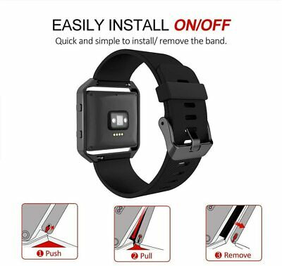 AU43.54 • Buy Fitbit Blaze Smart Fitness Watch Large Silicone Replacement Band Meatl Frame