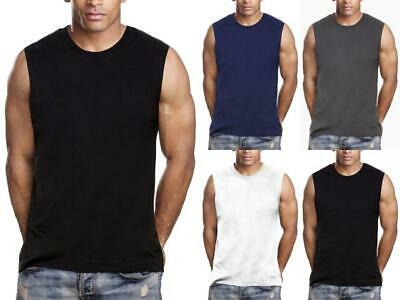 $10.95 • Buy Mens Gym Muscle Tank Top Sleeveless T-Shirt Heavy 100% Cotton Workout Fitness