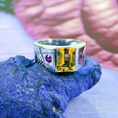£60 • Buy Natural Citrine & Amethyst  Gemstones With 925 Sterling Silver Ring For Men's