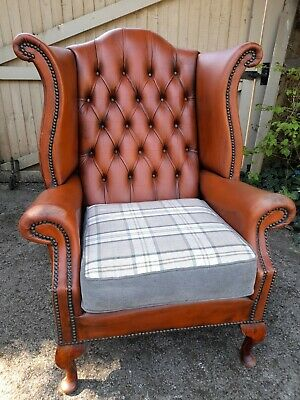 £230 • Buy Leather Chesterfield Button Wing Back  Fireside Chair,library Study Tan,check