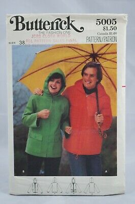 £4.31 • Buy Butterick Sewing Pattern 5005 VTG Loose Fitting Mens Hooded Jacket Size 38