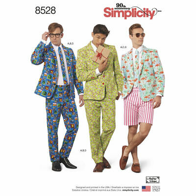 £8.45 • Buy SIMPLICITY Sewing Patterns~8528 Mens Jacket+Trousers+Shorts+Tie 34-42