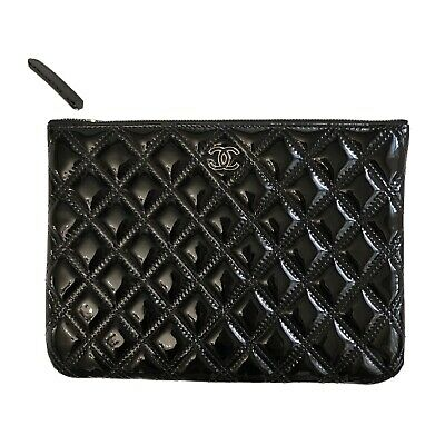 AU950 • Buy Chanel O Case Black Patent Leather Small Clutch Bag