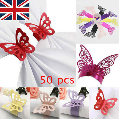 £5.49 • Buy UK Pack Of 50 Butterfly Paper Wedding Party Napkin Rings Serviette Table Decor