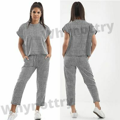 £10.95 • Buy Women's Short Sleeve Check Boxy Set Ladies Suit Lounge Wear Two Piece Tracksuit