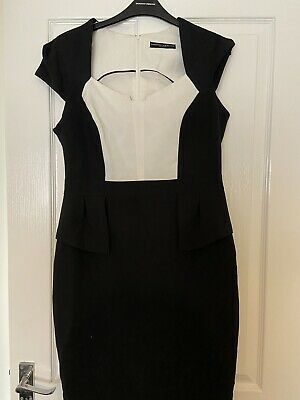 £14.99 • Buy Beautiful Black And Ivory Peplum Style Dress From Dorothy Perkins Size 12