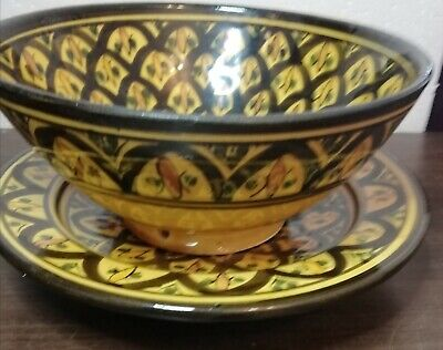 £6.99 • Buy Glazed Pottery Deep Bowl And Plate Brown Yellow & Green