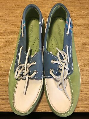 £18.03 • Buy Moshulu Green Blue White Loafers Shoes Flat Size 6 EUR 39 VGC