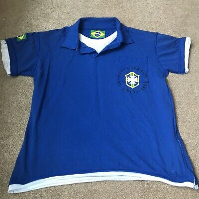 £7.99 • Buy Brazil Blue Polo Top Football T Shirt - Size XL Extra Large