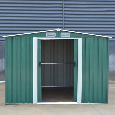 £369.99 • Buy Green 8x6ft Garden Shed Apex Roof Metal Tools Storage House Container With Base