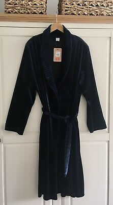 £5.99 • Buy Cotton Traders 18-20 Velour Navy Dressing Gown.Pockets & Removable Shoulder Pads