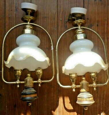 £60 • Buy  PAIR Of Vintage Double Oil Lamp Style ,Electric Pendant Ceiling Light Fittings