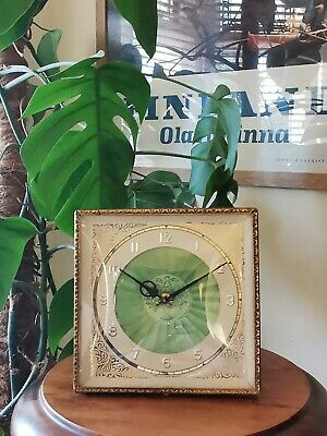 £19.99 • Buy A Vintage Art Deco Mechanical Wind Up Clock With Engraved Enamel Face