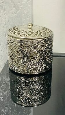 £9.99 • Buy Round Silver Etched Trinket Box Jewellery Box Mothers Day Floral Design With Lid