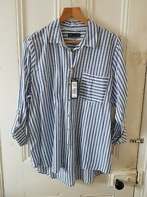 £2.99 • Buy BNWT M&S Collection 20 Loose Cotton Shirt Blouse Ticking Chambray Striped