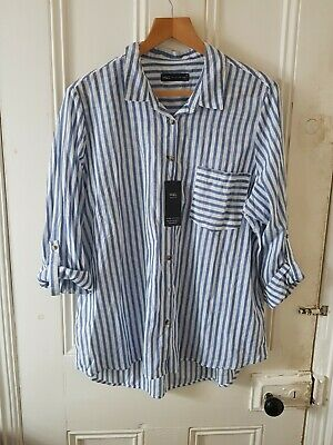 £6.50 • Buy M&S Collection 18 Loose Cotton Striped Shirt Blouse Ticking Chambray Striped