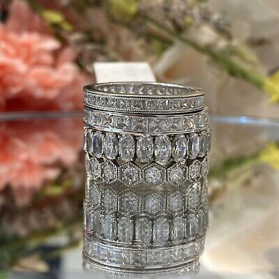 £58.10 • Buy JTV Bella Luce Sterling Silver CZ Eternity Stackable Ring Bands EUC! Lot Of 4!
