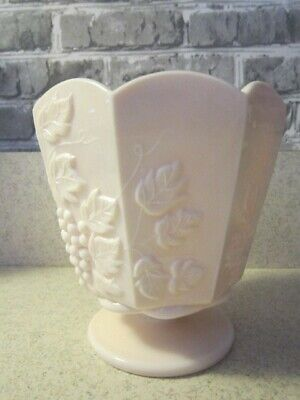 $9 • Buy NAPCO Pink Milk Glass Footed Planter  Paneled Grape & Leaves Pattern 5  High