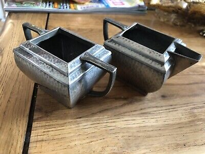 £4.95 • Buy Art Deco Hammered Pewter Sugar Bowl And Jug. 'Argent' Pewter English Made 1215