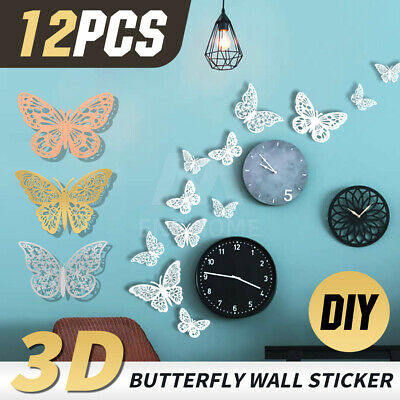 AU4.88 • Buy 3D Butterfly Wall Stickers Mural DIY Home Decor Wedding Decoration Decal