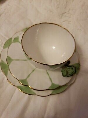£470.26 • Buy Rare Deco Aynsley Butterfly Handle Trio Tea Cup Saucer & Plate Green