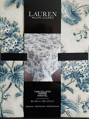 £29.99 • Buy Ralph Lauren Tablecloth Floral Size 60 X84  French Toile Blue & White NEW