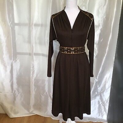 £16 • Buy Vtg After Six By Ronald Joyce Long Sleeved Brown MIDI Dress Size 14