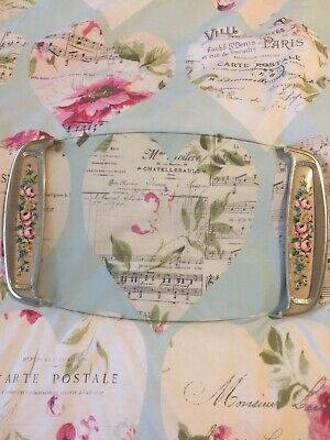 £12 • Buy Vintage Glass Vanity Tray Floral Dressing Table 18.5 Inches X8'' Perfume Tray