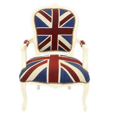 £160 • Buy Chairs France Baroque Style Lady Chair With Armrests Cream / Union Jack #55f3