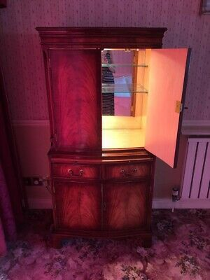 £50 • Buy Reprodux Bevan Funnell Flame Mahogany Serpentine Drinks Or Cocktail Cabinet