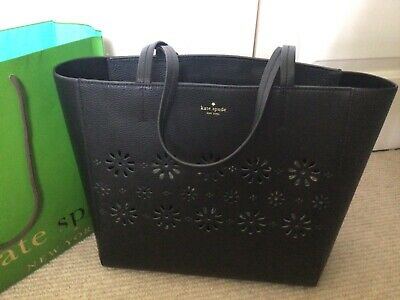$ CDN29.17 • Buy Kate Spade Large Leather Lazer Cut Tote, Black, SUPERB CONDITION