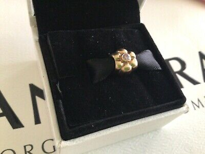 £235 • Buy Pandora Solid 14ct Gold Puffed Flower With Pink Crystal, SUPERB CONDITION