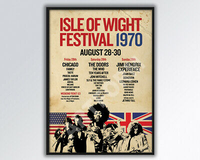 £14 • Buy ISLE Of WIGHT FESTIVAL 1970 Poster A3 Size.