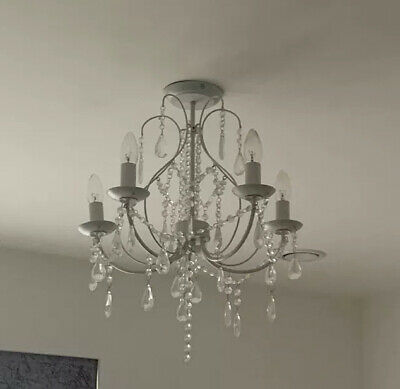 £25 • Buy White 5 Arm Chandelier Candle Holder Ceiling Light Fixture Fitting Vintage