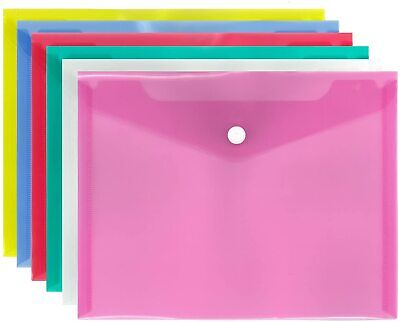 £4.49 • Buy 8 X A5 File Folder Document Wallet Plastic Small Button Thickness 200Micron