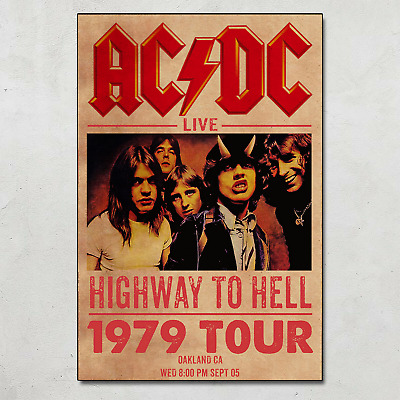 $17.95 • Buy ACDC 1979 Live Tour Highway To Hell Concert Music Poster Wall Art Decor No Frame