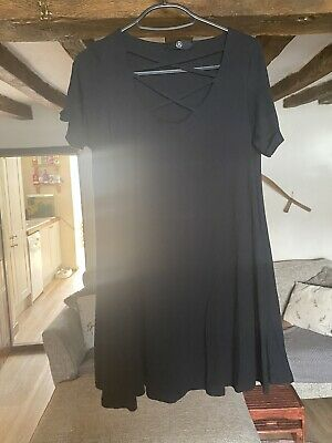 £1.50 • Buy Missguided Black Flowy Dress Size 8 Day Night Out Alt Rock Goth Chic