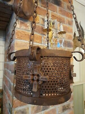 £75 • Buy Cast Iron Gothic Hanging Church Candle Holder On Chain Heavy Indoor Outdoor
