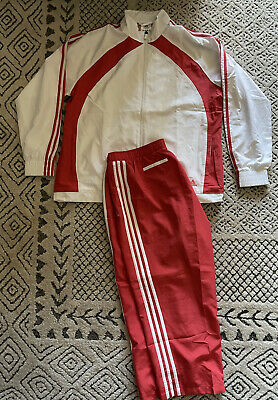$ CDN55.87 • Buy Adidas Track Suit Cropped Pants Mens XL Red & White Stripes Jacket