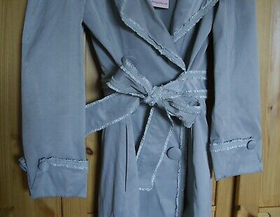 £34 • Buy NWT NEW DARLING Pearl Grey Satin Frills Military Buttons  Meena  Trench Coat S 8