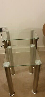 £7.50 • Buy Clear Glass Nest Of Tables (2 Sets)