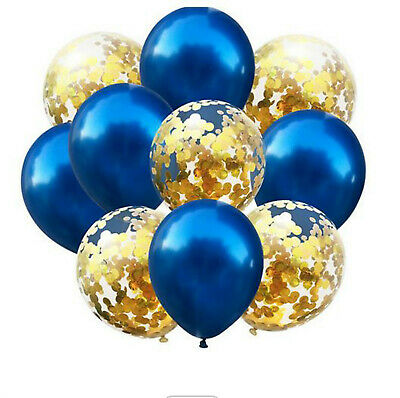 $6.28 • Buy 10 LARGE 300mm BALLOONS BLUE & GOLD CONFETTI FILLED FOR WEDDING BIRTHDAY PARTY