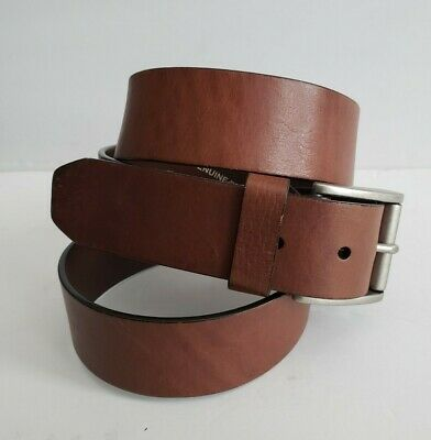 $20 • Buy FOSSIL No 54 Men's Brown 1.5  Wide Leather Belt Silver Buckle Size 42