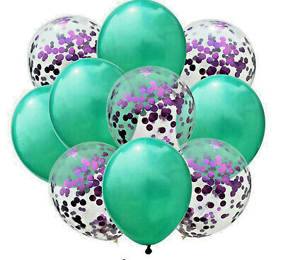 $6.28 • Buy 10 LARGE 300mm BALLOONS GREEN & PURPLE WITH CONFETTI FOR WEDDING BIRTHDAY PARTY