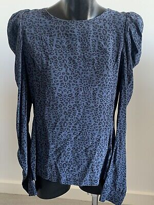 AU19.50 • Buy WITCHERY Size 12 Blue Leopard Print Long Sleeve Silk Blouse Button Puff Sleeve