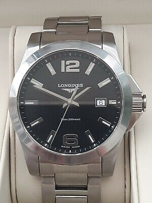 £385 • Buy Longines Conquest Mens Quartz Watch With A Black Dial In Perfect Condition